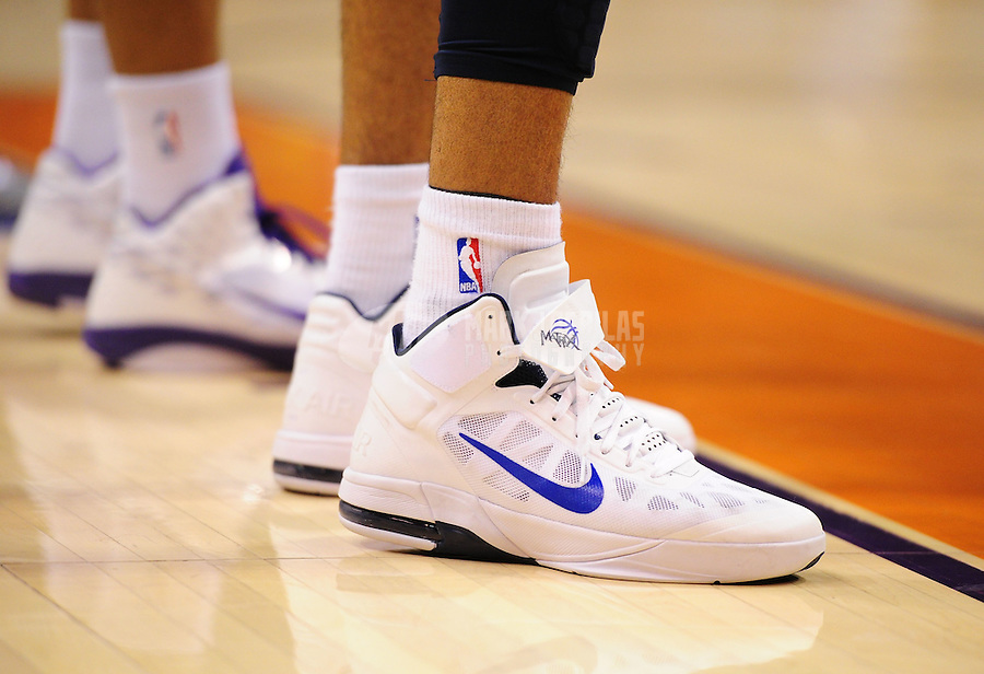 Mar. 27, 2011; Phoenix, AZ, USA; Detailed view of the shoes worn by Dallas Mavericks forward (0) Shawn Marion against the Phoenix Suns at the US Airways Center. The Maverick defeated the Suns 91-83. Mandatory Credit: Mark J. Rebilas-