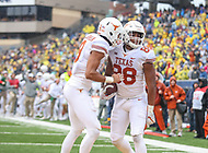 Morgantown, WV - November 18, 2017: Texas Longhorns tight end Kendall Moore (88) celebrates after scoring a touchdown during game between Texas and WVU at  Mountaineer Field at Milan Puskar Stadium in Morgantown, WV.  (Photo by Elliott Brown/Media Images International)