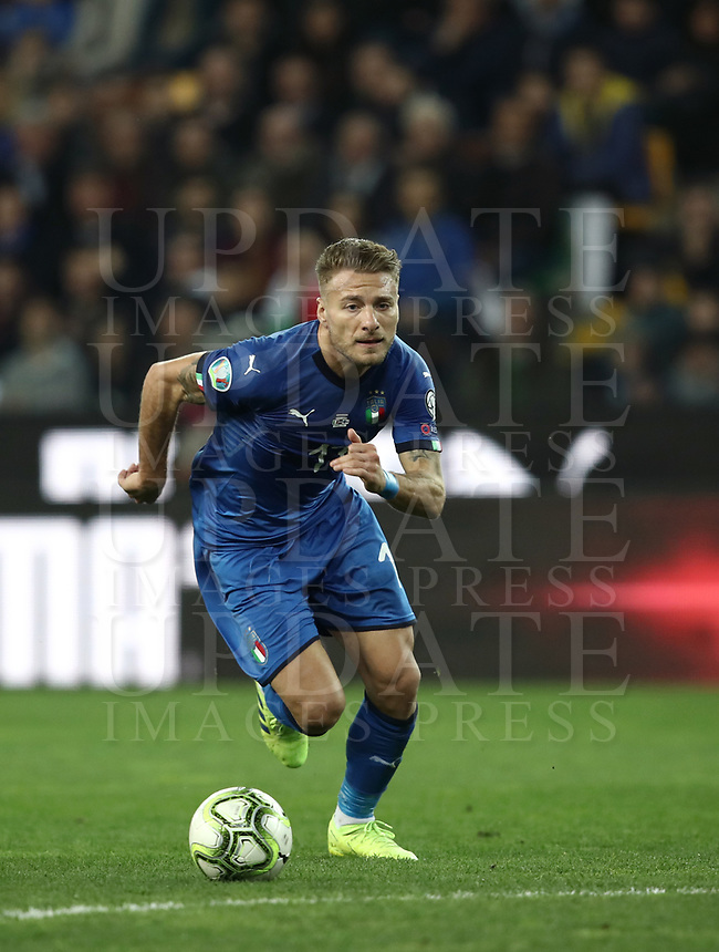Football: Euro 2020 Group J qualifying football match Italy vs Finland at the Friuli Stadium in Udine on march  23, 2019<br /> Italy's Ciro Immobile in action during the Euro 2020 qualifying football match between Italy and Finland at the Friuli Stadium in Udine, on march 23, 019<br /> UPDATE IMAGES PRESS/Isabella Bonotto