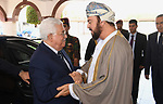 Palestinian President Mahmoud Abbas, meets with Deputy Prime Minister for Relations and International Cooperation of Oman, Asaad bin Tariq Al Said, in the Omani capital Muscat, on May 18, 2017. Photo by Thaer Ganaim