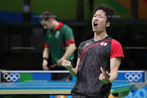 Jun Mizutani (JPN), <br /> AUGUST 9, 2016 - Table Tennis : <br /> Men's Singles Quarter-finals <br /> at Riocentro - Pavilion 3 <br /> during the Rio 2016 Olympic Games in Rio de Janeiro, Brazil. <br /> (Photo by Sho Tamura/AFLO SPORT)
