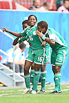 17.07.2010,  Augsburg, GER, FIFA U20 Womens Worldcup, Nigeria vs Japan,  im Bild freudentanz nach dem 1-0  torsch¸tzin Amarachi OKORONKWO (Nigeria Nr.16) und Desire OPARANOZIE (Nigeria Nr.9)  , Foto: nph /  Straubmeier