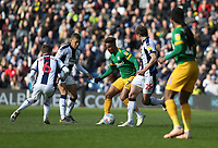 Preston North End's Callum Robinson is surrounded by (L to R) West Bromwich Albion's Stefan Johansen, Dwight Gayle and Craig Dawson<br /> <br /> Photographer Stephen White/CameraSport<br /> <br /> The EFL Sky Bet Championship - West Bromwich Albion v Preston North End - Saturday 13th April 2019 - The Hawthorns - West Bromwich<br /> <br /> World Copyright © 2019 CameraSport. All rights reserved. 43 Linden Ave. Countesthorpe. Leicester. England. LE8 5PG - Tel: +44 (0) 116 277 4147 - admin@camerasport.com - www.camerasport.com