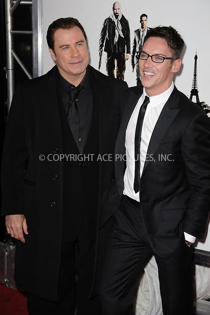 WWW.ACEPIXS.COM . . . . . ....January 28 2010, New York City....Actors John Travolta and  Jonathan Rhys Meyers arriving at the 'From Paris With Love' premiere at the Ziegfeld Theatre on January 28, 2010 in New York City. ....Please byline: KRISTIN CALLAHAN - ACEPIXS.COM.. . . . . . ..Ace Pictures, Inc:  ..(212) 243-8787 or (646) 679 0430..e-mail: picturedesk@acepixs.com..web: http://www.acepixs.com