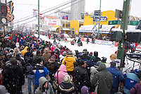 Saturday, March 3, 2012  Jeff King waits to leave the start line on 4th avenue as a crowd of specators line the street at the Ceremonial Start of Iditarod 2012 in Anchorage, Alaska.
