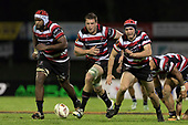 Viliame Rarasea, Ronald Raaymakers and Sam Furniss chases the ball during the Mitre 10 Cup rugby game between Counties Manukau Steelers and Auckland played at ECOLight Stadium, Pukekohe on Saturday August 19th 2017. Counties Manukau Stelers won the game 16 - 14 and retain the Dan Bryant Memorial trophy.<br /> Photo by Richard Spranger.