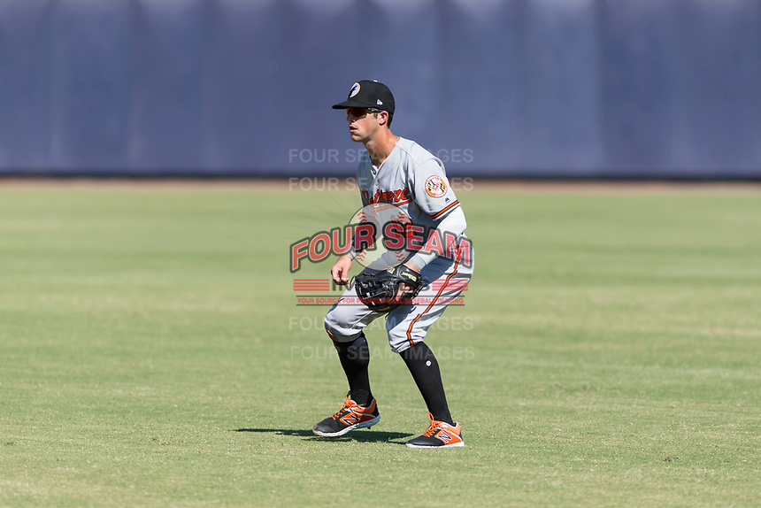 Glendale Desert Dogs second baseman Steve Wilkerson (12), of the Baltimore Orioles organization, during an Arizona Fall League game against the Peoria Javelinas at Peoria Sports Complex on October 22, 2018 in Peoria, Arizona. Glendale defeated Peoria 6-2. (Zachary Lucy/Four Seam Images)
