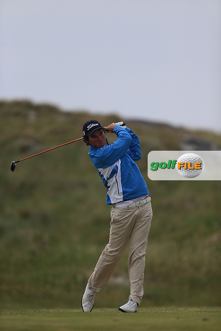 Cormac Sharvin (Ardglass) on the 1st tee during the 3rd round of the Irish Amateur Close Championship 2013 at the Connemara Golf Club 10/6/13<br /> Picture:  Thos Caffrey / www.golffile.ie