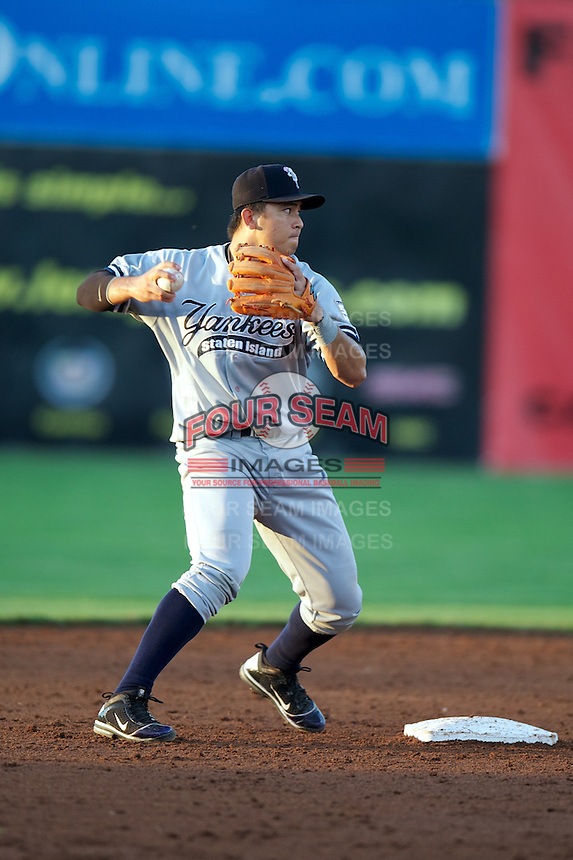 Staten Island Yankees Fu-Lin Kuo #61 during a game against the Batavia Muckdogs at Dwyer Stadium on July 28, 2012 in Batavia, New York.  Batavia defeated Staten Island 2-1.  (Mike Janes/Four Seam Images)