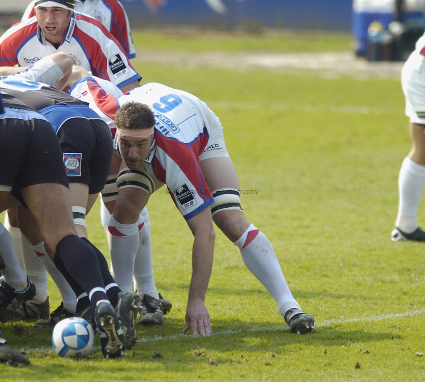 Photo: Jonathan Butler..Bath Rugby v Bristol Rugby. European Challenge Cup. 31/03/2007..Roy Winters packs down for Bristol.