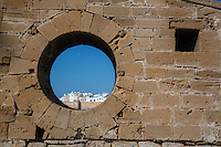 Essaouira, Morocco.  View of Town Ramparts from Window in Bridge to Fort.