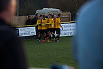 The home team players celebrating their team's opening goal at Lye Meadow as Alvechurch (in amber) hosted Highgate United in a Midland Football League premier division match. Originally founded in 1929 and reformed in 1996 after going bust, the club has plans to move from their current historic ground to a new purpose-built stadium in time for the 2017-18 season. Alvechurch won this particular match by 3-0, watched by 178 spectators, taking them back to the top of the league.