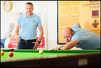 BNPS.co.uk (01202 558833)<br /> Pic:   PhilGreig/BNPS<br /> <br /> Sergeant Chris Bullen (left) and Corporal Joel Pickersgill.<br /> <br /> Need a break ...<br /> <br /> Two RAF friends have set a new Guinness World Record - for the longest ever snooker match.<br /> <br /> Corporal Joel Pickersgill, 34, and Sergeant Chris Bullen, 35, played continuously for a staggering 87 hours and 33 minutes, comfortably beating the previous record of 85 hours and 19 minutes.<br /> <br /> Cpl Pickersgill emerged victorious 118 games to 48 in the titanic contest, with over 7,000 balls potted.<br /> <br /> By the end, the players were so tired they began hallucinating and seeing pockets in the middle of the table.