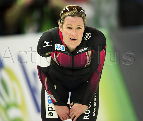 05.03.2016. Berlin, Germany. Claudia Pechstein of Germany pictured after her 3000m race against Graf of Russia, at the ISU World Allround Speed Skating Championships in Berlin.