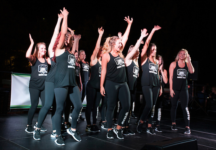 The Ohio Univeristy dance team poses at the end of their performace at the Yell Like Hell Pep Rally. © Ohio University / Photo by Kaitlin Owens