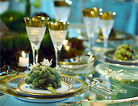 Artichoke and placesetting.