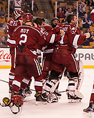 Wiley Sherman (Harvard - 25), Tyler Moy (Harvard - 2), Clay Anderson (Harvard - 5), Luke Esposito (Harvard - 9), Merrick Madsen (Harvard - 31) - The Harvard University Crimson defeated the Boston University Terriers 6-3 (EN) to win the 2017 Beanpot on Monday, February 13, 2017, at TD Garden in Boston, Massachusetts.