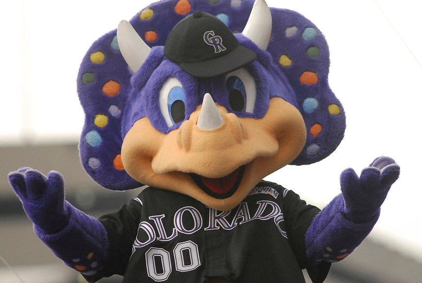 "Colorado Rockies Mascot ""Dinger"" seen at a 2007 even in downtown denver to celebrate the Rockies' success in the 2007 season."