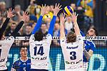 24.02.2019, SAP Arena, Mannheim<br /> Volleyball, DVV-Pokal Finale, VfB Friedrichshafen vs. SVG LŸneburg / Lueneburg<br /> <br /> Block  / Dreierblock Raymond Szeto (#11 Lueneburg), Michel Schlien (#14 Lueneburg), Adam Schriemer (#3 Lueneburg) - Angriff Athanasios Protopsaltis (#7 Friedrichshafen)<br /> <br />   Foto © nordphoto / Kurth