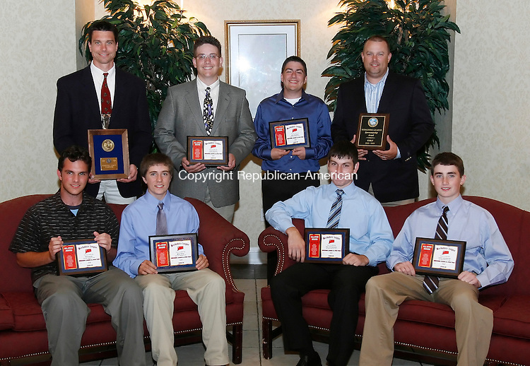 SOUTHINGTON, CT 06/04/09- 060409BZ22- <br /> GOLF<br /> Front row from left- Phil Smith, Mike Kelly, Northwestern; Alex DiClemente, Cole Letchworth, Lewis Mills<br /> <br /> Back row from left- League Champion Lewis Mills coach Jay Pelchar; Josh Roland,Terryville; Nick Bardino, Northwestern; Sportsmanship Award winner Litchfield coach Rob Gollow<br /> <br /> during the Berkshire League All-Star Banquet at the Aqua Turf Club in Southington Thursday night.<br />  Jamison C. Bazinet Republican-American