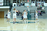 23 February 2018:  Ashley Schneider, Maddie Merritt, Molly McGraw and Rebekah Ehresman during an NCAA women's CCIW Semi-Final basketball game between the Elmhurst Bluejays and the Illinois Wesleyan Titans in Shirk Center, Bloomington IL