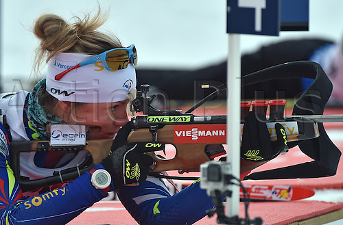 09.03.2016. Holmenkollen, Oslo, Norway. IBU Biathlon World Cup.  Marie Dorin Habert of France at the shooting range during zeroing prior the Women 15km Individual competition at the Biathlon World Championships, in the Holmenkollen Ski Arena, Oslo, Norway, 09 March 2016.