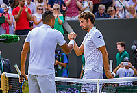 London, England, 5 th. July, 2018, Tennis,  Wimbledon, Men's singles, Robin Haase (NED) (R) congratulates  Nick Kyrgios (AUS)<br /> Photo: Henk Koster/tennisimages.com