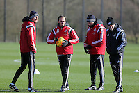 Pictured: Dave Adams,Gabriele Ambrosetti, Diego Bortoluzzi and  Francesco Guidolin Wednesday 10 February 2016<br />Re: Swansea City FC training at the club's Fairwood Training Ground in the outskirts of Swansea, south Wales, UK.