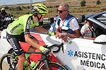 Garaico Rodriguez (ESP) Euskadi-Murias receives medical attention during Stage 17 of the La Vuelta 2018, running 186.1km from Ejea de los Caballeros to Lleida, Spain. 13th September 2018.                   <br /> Picture: Unipublic/Photogomezsport | Cyclefile<br /> <br /> <br /> All photos usage must carry mandatory copyright credit (&copy; Cyclefile | Unipublic/Photogomezsport)