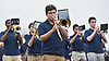 Dylan Rose, center, plays trombone as he and the Baldwin marching band entertain the crowd during halftime of a Nassau County Conference I varsity football game against Oceanside at Baldwin High School on Saturday, Oct. 6, 2018.