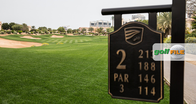 2nd hole at The Els Club , Dubai, United Arab Emirates.  28/01/2016. Picture: Golffile | David Lloyd<br /> <br /> All photos usage must carry mandatory copyright credit (&copy; Golffile | David Lloyd)