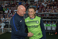 Robert Page (Manager) of Northampton Town and Gareth Ainsworth (Manager) of Wycombe Wanderers who named himself as a substitute for The Checkatrade Trophy match between Northampton Town and Wycombe Wanderers at Sixfields Stadium, Northampton, England on 30 August 2016. Photo by David Horn / PRiME Media Images.