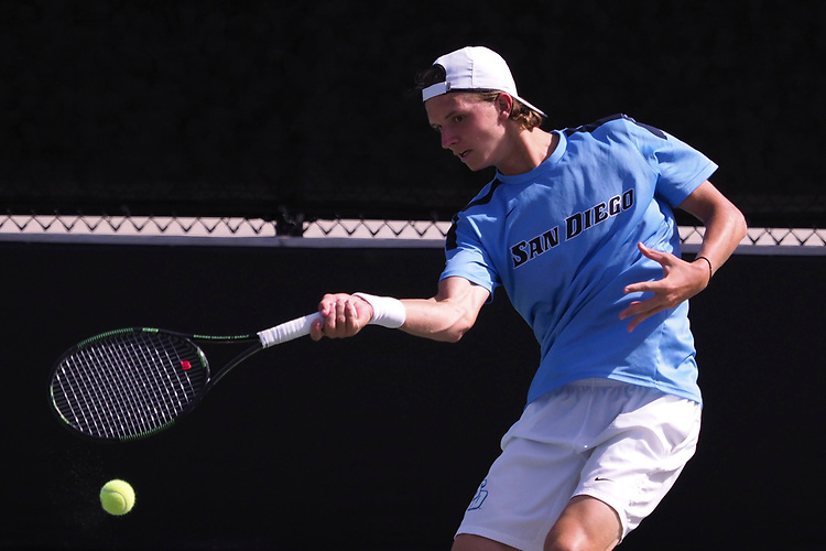 April 28, 2017; Claremont, CA, USA; San Diego Toreros player Guus Koevermans during the WCC Tennis Championships at Biszantz Family Tennis Center.