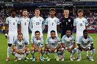 England line up before England Under-21 vs Poland Under-21, UEFA European Under-21 Championship Football at The Kolporter Arena on 22nd June 2017
