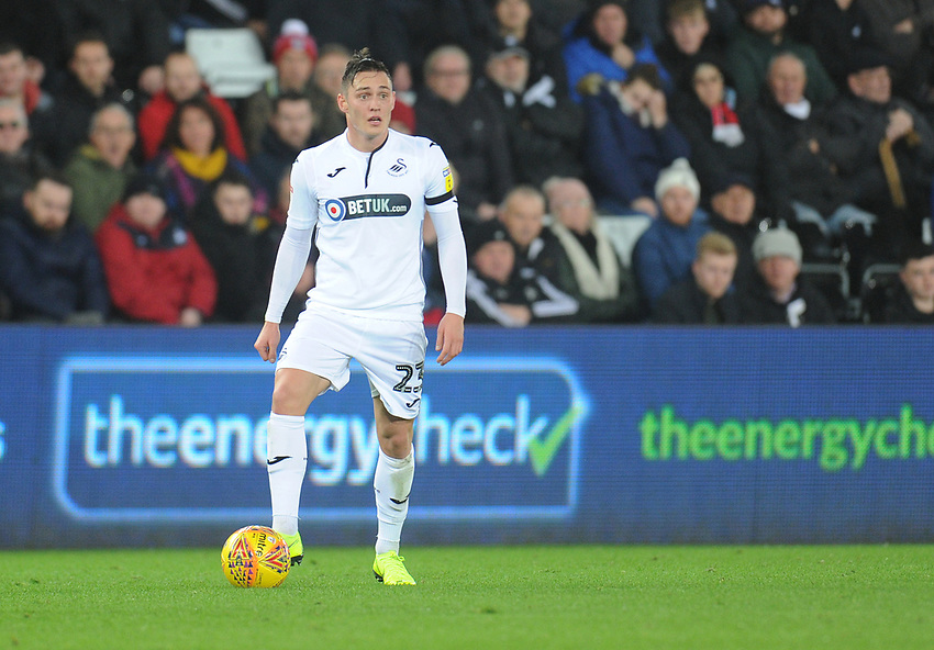 Swansea City's Connor Roberts<br /> <br /> Photographer Kevin Barnes/CameraSport<br /> <br /> The EFL Sky Bet Championship - Swansea City v West Bromwich Albion - Wednesday 28th November 2018 - Liberty Stadium - Swansea<br /> <br /> World Copyright © 2018 CameraSport. All rights reserved. 43 Linden Ave. Countesthorpe. Leicester. England. LE8 5PG - Tel: +44 (0) 116 277 4147 - admin@camerasport.com - www.camerasport.com