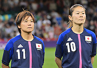 August 03, 2012 - Cardiff England - United Kingdom - Japan's Homare Sawa  and Shonobu Ohno, during the singing of National Anthem before Group F match between JPN and BRA at the Millennium Stadium. .