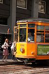 Tram in Alessandro Manzoni Street in Milan, Italy