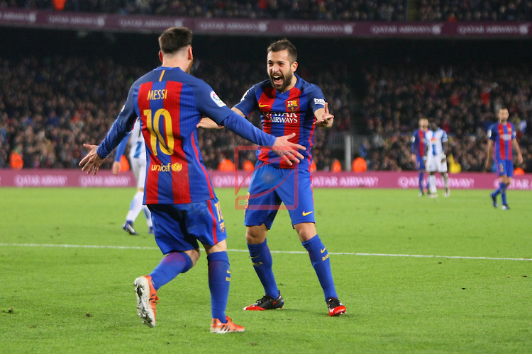 League Santander 2016/2017. Game: 16.<br /> FC Barcelona vs RCD Espanyol: 4-1.<br /> Lionel Messi &amp; Jordi Alba.