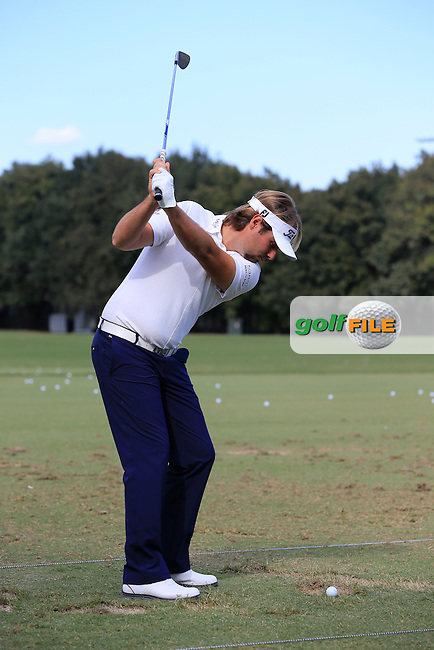 Victor Dubisson (FRA) on the range during the practice day at the WGC Cadillac Championship, Blue Monster, Trump National Doral, Miami, Florida,USA.<br /> Picture: Fran Caffrey www.golffile.ie