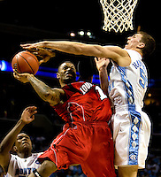 North Carolina's Tyler Hansbrough against Louisville during the NCAA Basketball Men's East Regional at Time Warner Cable Arena in Charlotte, NC.
