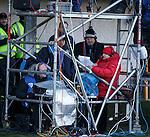 Derek Johnstone and Tom Miller sheltering under the scaffold tower at Alloa