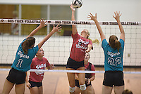 NWA Democrat-Gazette/J.T. WAMPLER Rogers Heritage against Bentonville in the Cancer Challenge volleyball August 20, 2015.