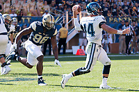 Pitt defensive lineman Allen Edwards rushes the quarterback. The Pitt Panthers defeated the Villanova Wildcats 28-7 at Heinz Field, Pittsburgh, Pennsylvania on September 3, 2016.