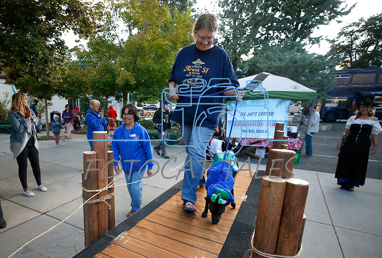 Peggy Naegeli leads Lady, 1, over the catwalk  during the Scallywaggers Pirate Pup Parade at the Brewery Arts Center, in Carson City, Nev., on Wednesday, Sept. 18, 2019.<br /> Photo by Cathleen Allison/Nevada Momentum