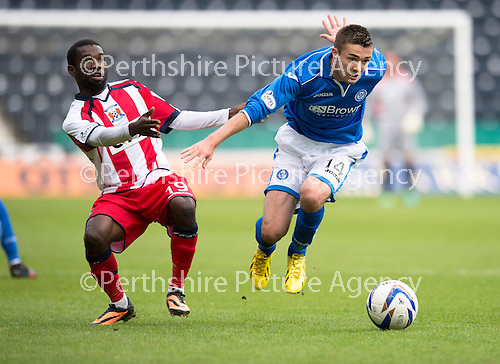 Kilmarnock v St Johnstone...11.08.13 SPFL<br /> Gwion Edwards and Rabiu Ibrahim<br /> Picture by Graeme Hart.<br /> Copyright Perthshire Picture Agency<br /> Tel: 01738 623350  Mobile: 07990 594431