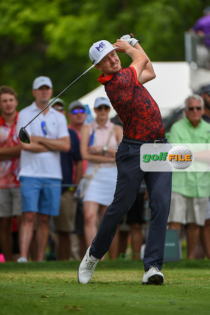 Jonas Blixt (SWE) watches his tee shot on 3 during round 3 of the 2019 Charles Schwab Challenge, Colonial Country Club, Ft. Worth, Texas,  USA. 5/25/2019.<br /> Picture: Golffile | Ken Murray<br /> <br /> All photo usage must carry mandatory copyright credit (© Golffile | Ken Murray)