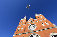LATROBE, PA - OCTOBER 4: Arnold Palmer's Cessna 10 aircraft flies over Saint Vincent Basilica during a Celebration of Arnold Palmer at Saint Vincent College on October 4, 2016 in Latrobe, Pa. (Photo by Hunter Martin/Getty Images) *** Local Caption ***