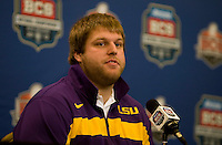 LSU center P.J. Lonergan talks with the reporters during BCS Championship LSU Offensive Press Conference at Marriott Hotel at the Convention Center in New Orleans, Louisiana on January 7th, 2012.