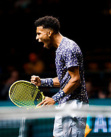 Rotterdam, The Netherlands, 11 Februari 2020, ABNAMRO World Tennis Tournament, Ahoy, <br /> Felix Auger-Aliassime (CAN) celebrates his win.<br /> Photo: www.tennisimages.com