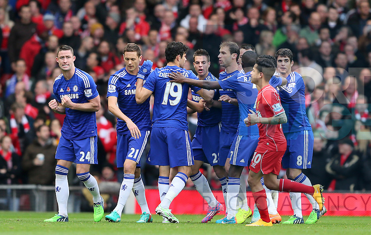 Gary Cahill of Chelsea (L) celebrates scoring the first goal  - Barclays Premier League - Liverpool vs Chelsea - Anfield Stadium - Liverpool - England - 8th November 2014  - Picture Simon Bellis/Sportimage